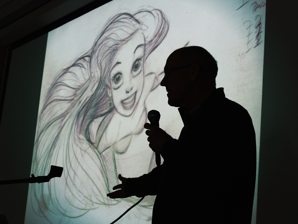 Keane drew a variety of his most famous characters for students, including Ariel of  The Little Mermaid . Photo by Keith Zwölfer.