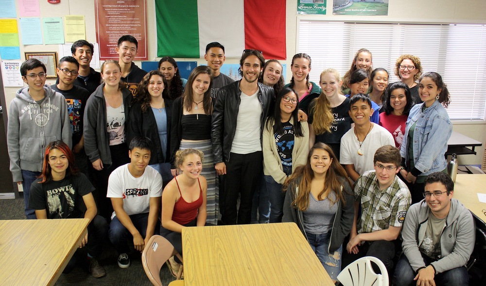 Filmmaker Simone Borrelli with students from Lowell High School