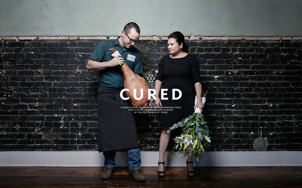 Brand photography of Chef Steven McHugh and his wife.