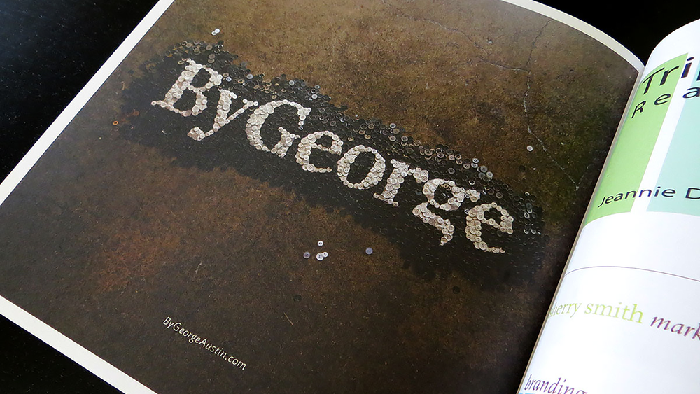 Photograph of the ByGeorge ad in the West Austin Studio Tour exhibition book.