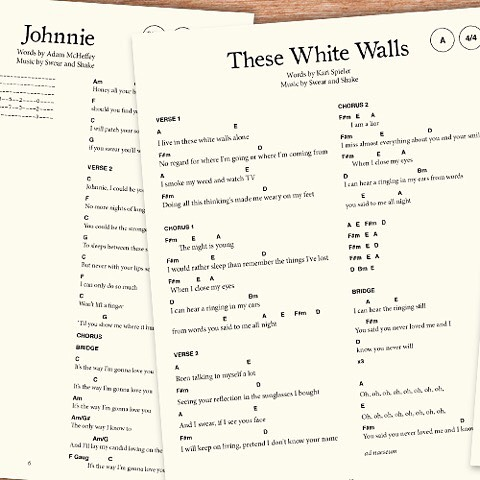 We're pleased to present the OFFICIAL chord and lyric book for all Swear and Shake songs! If you're interested in playing through Johnnie, These White Walls, Brother, and all your other favorites on or guitar, this is a good book to have kicking around. Link in bio!