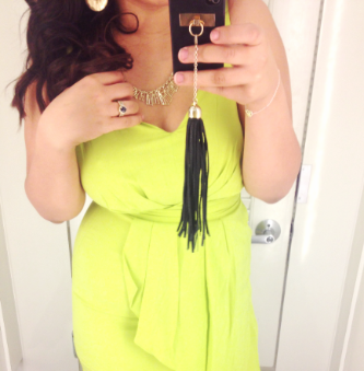 Chartreuse dress! And Tassel case! Happiness!
