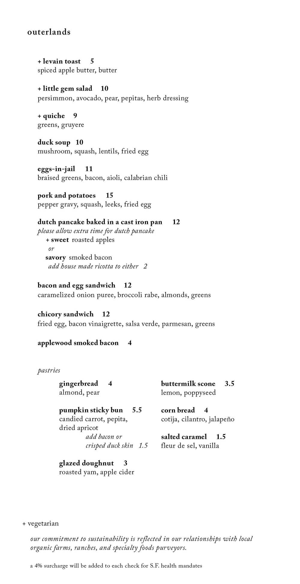 *sample weekend brunch menu