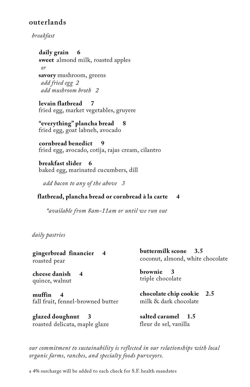 * sample weekday breakfast menu