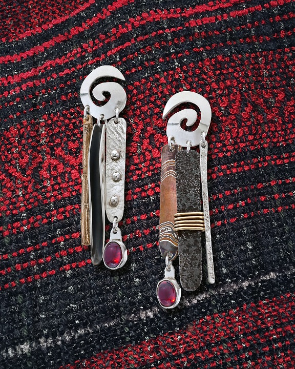 """Desert Chimes No.6 Earrings""     Sterling Silver ~ Brass ~ Steel    Mokume Gane ~ Garnet"
