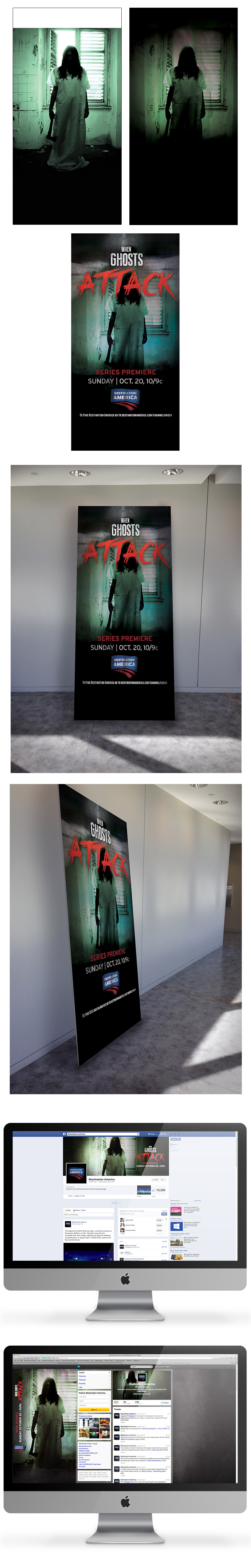 A 36x72 sign was created to advertise When Ghosts Attack in Destination America. The sign was showcased at a New York event that promoted upcoming premieres for Destination America. Staying consistent with the brand, the typography was use to highlight the premiere and marketing of the website. Textural elements was blended in the imagery to provide that ominous tone — which complements the tune-in and title treatment. The same elements was also utilize in the Facebook page and Twitter that would branch off to audiences. Art Direction: Linas Virbickas and Allison Wolfe