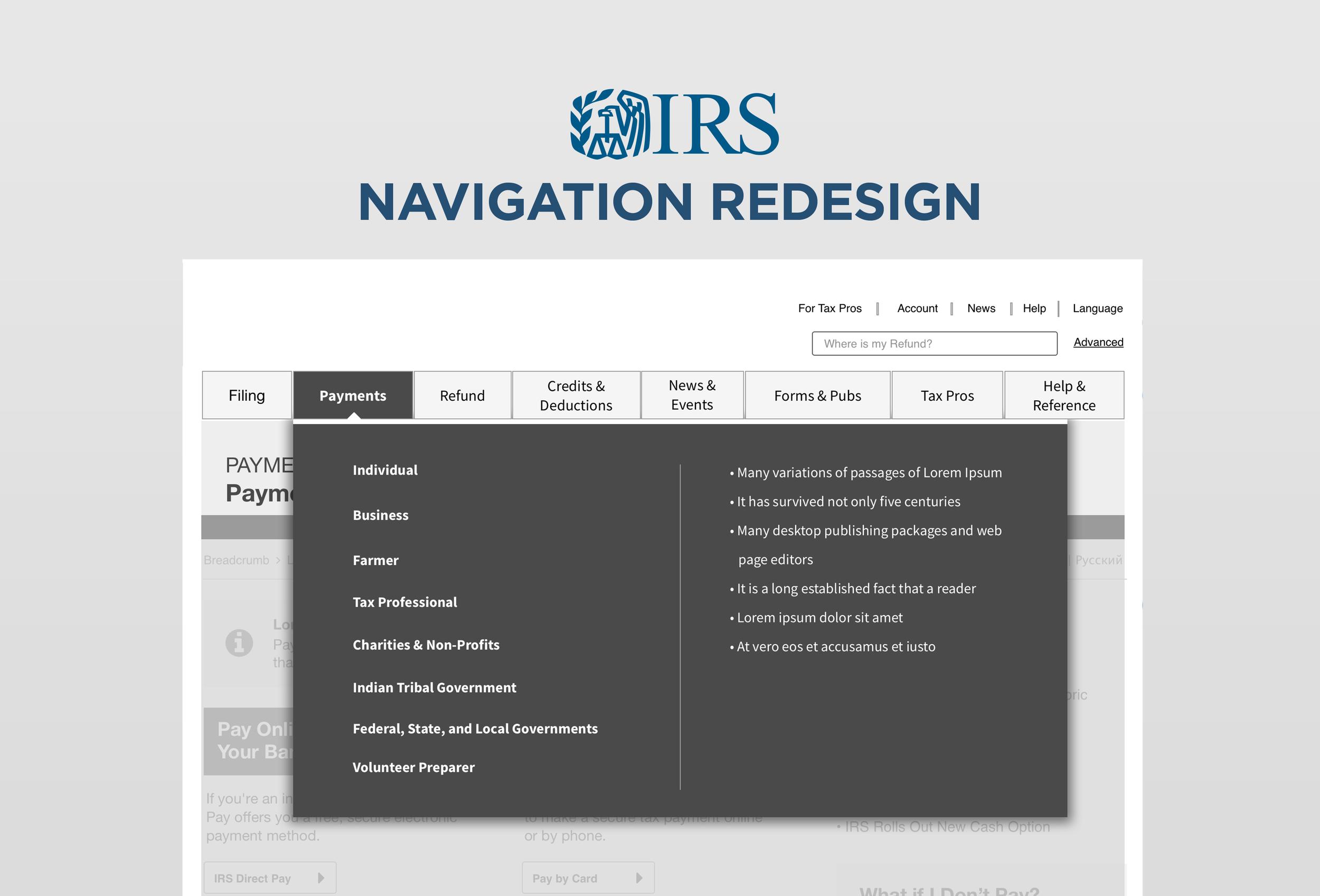 Irs navigation redesign delacruz dynamics irs navigation redesign falaconquin