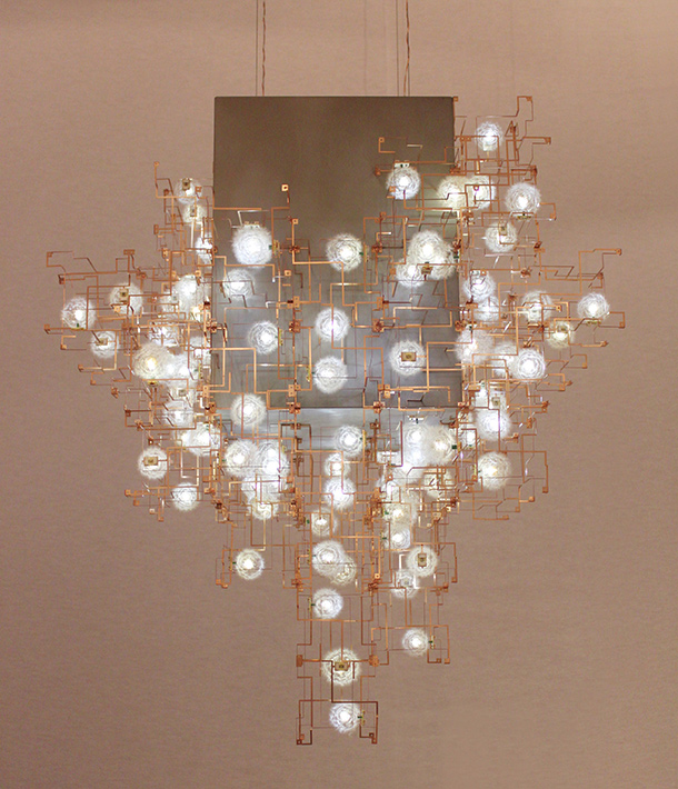 Intricate hand made lighting by Studio Drift, on display at the What is Luxury exhibition at the V & A.