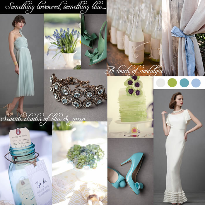 blue & green wedding theme inspiration board aqua driftwood
