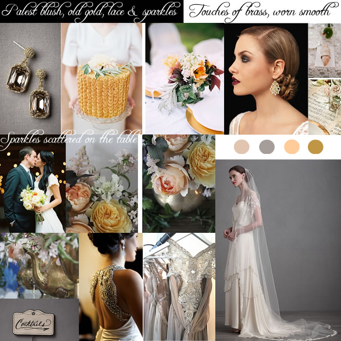 blush, old gold, sparkles & lace inspiration board wedding glamour