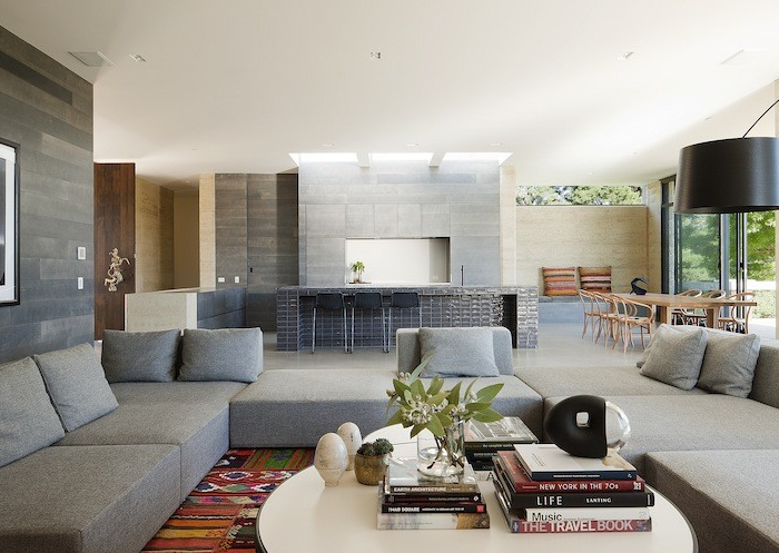 grey living room kitchen contemporary robson rak