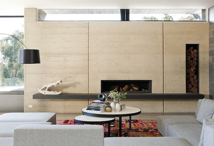 robson rak architects merricks house fireplace contemporary windows over
