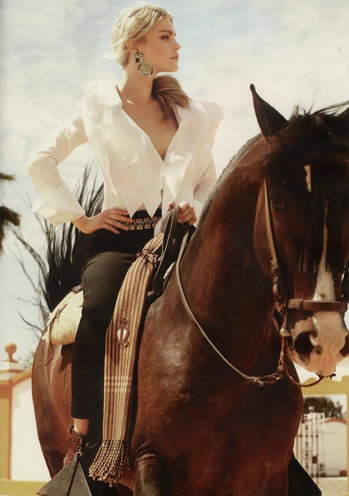 spanish revival feature harpers bazaar model on horseback
