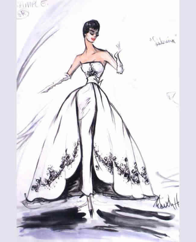 edith head sketch sabrina gown