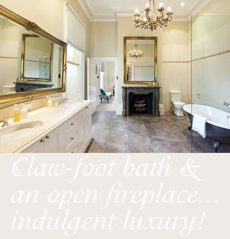 bathroom claw foot bath open fireplace