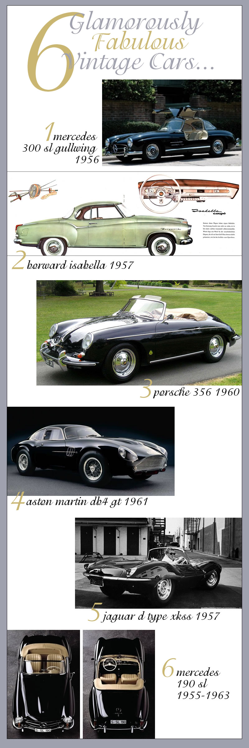 6 fabulous glamorous vintage cars