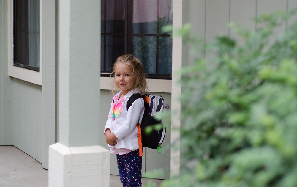 Anna all ready for school.