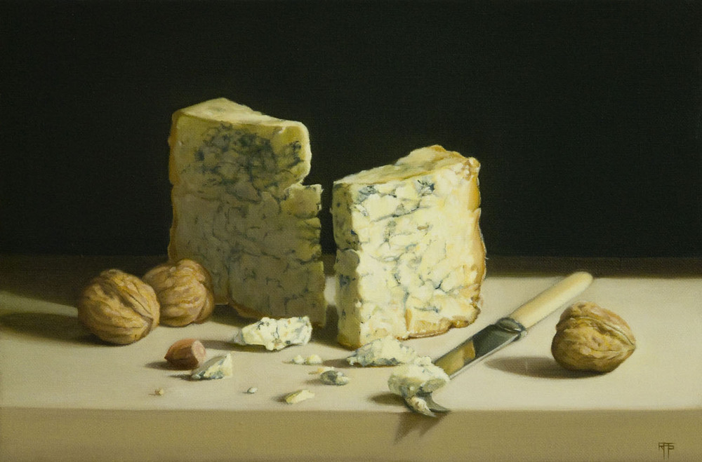 Cheese and nuts, Oil on Linen, 27x41cm  Private Collection