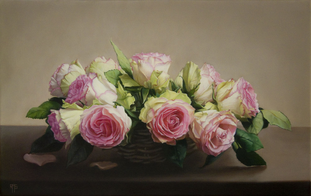 Basket of Roses, Oil on Linen, 41x65cm. Private Collection