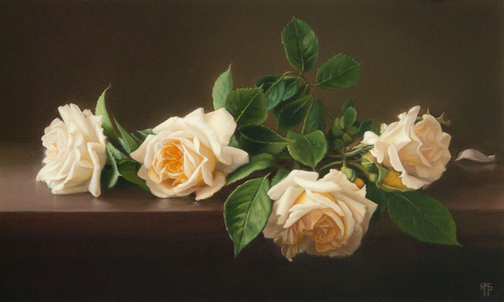 Apricot Roses, Oil on Linen, 33x55cm. Private Collection