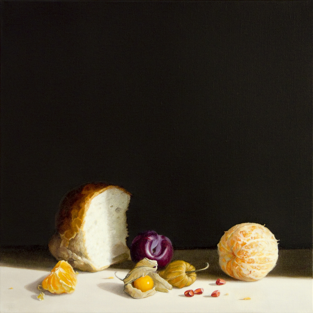 Bread and Orange, Oil on Linen, 40x40cm
