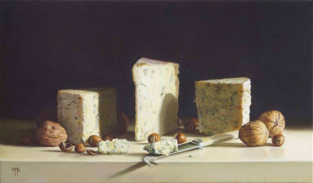 Cheese and Nuts.Oil on Linen.27x46cm. Private Collection
