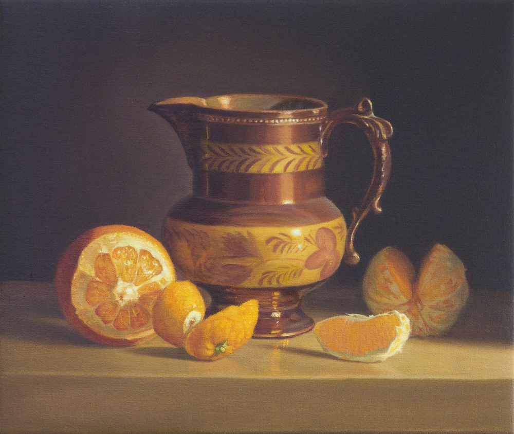 Oranges and Jug.Oil on Linen.27x32cm. Private Collection