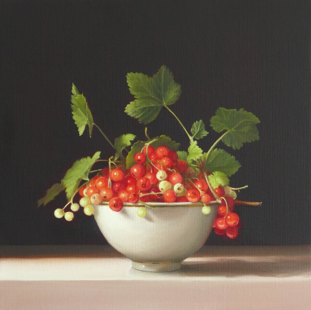 Redcurrants. Oil on Linen. 30x30cm