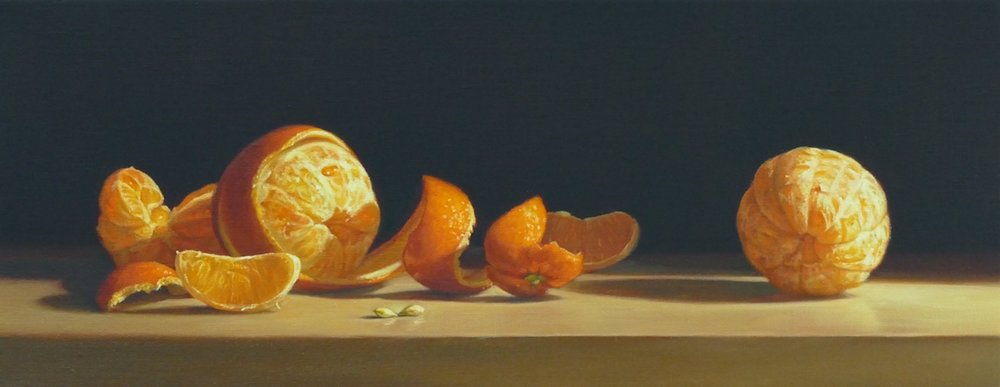 Oranges. Oil on linen. 22x55cm. Private Collection