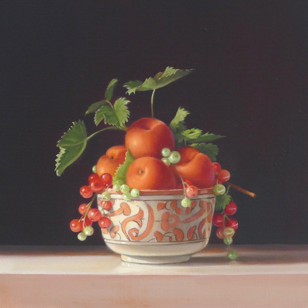 Apricots and Redcurrants. 30x30cm. Oil on Linen
