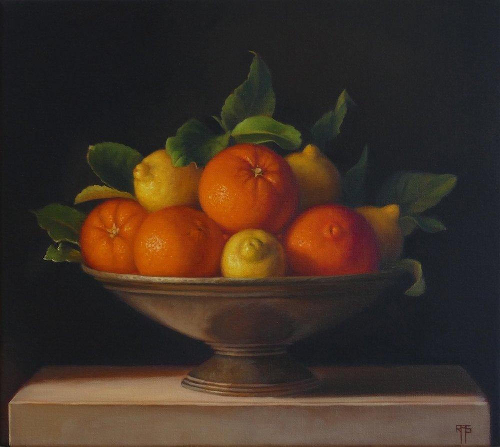 Oranges and Lemons. 40x45cm. Oil on Linen