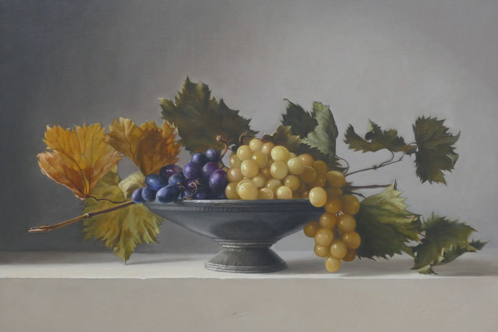 Grapes with vine leaves. 45x67cm. Oil on linen