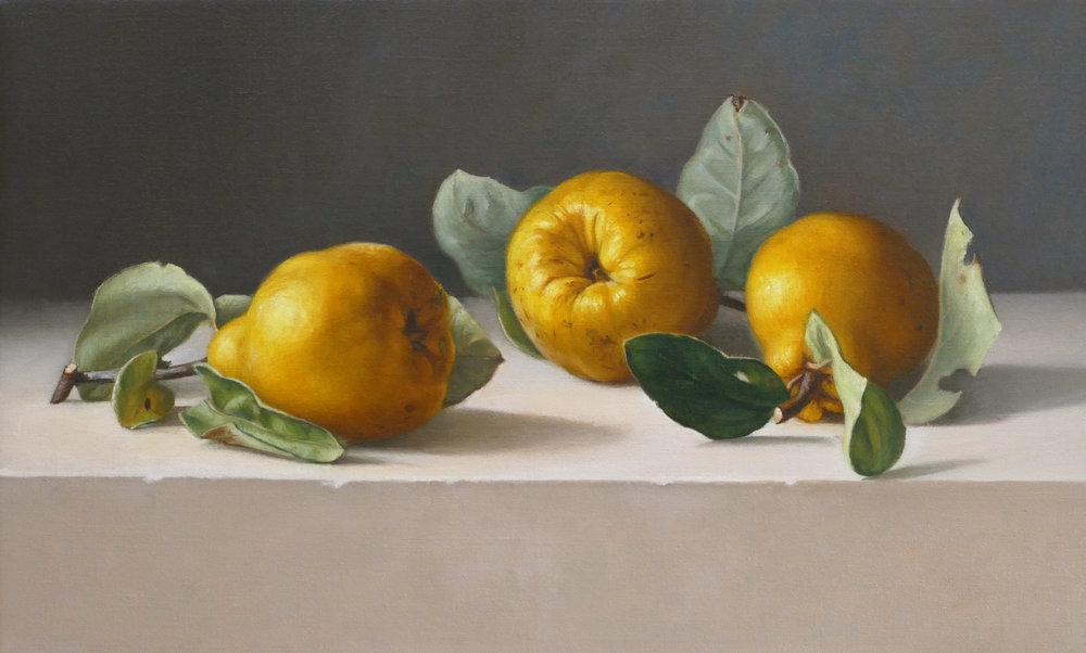 Quinces in a row. 28x46cm. Oil on linen