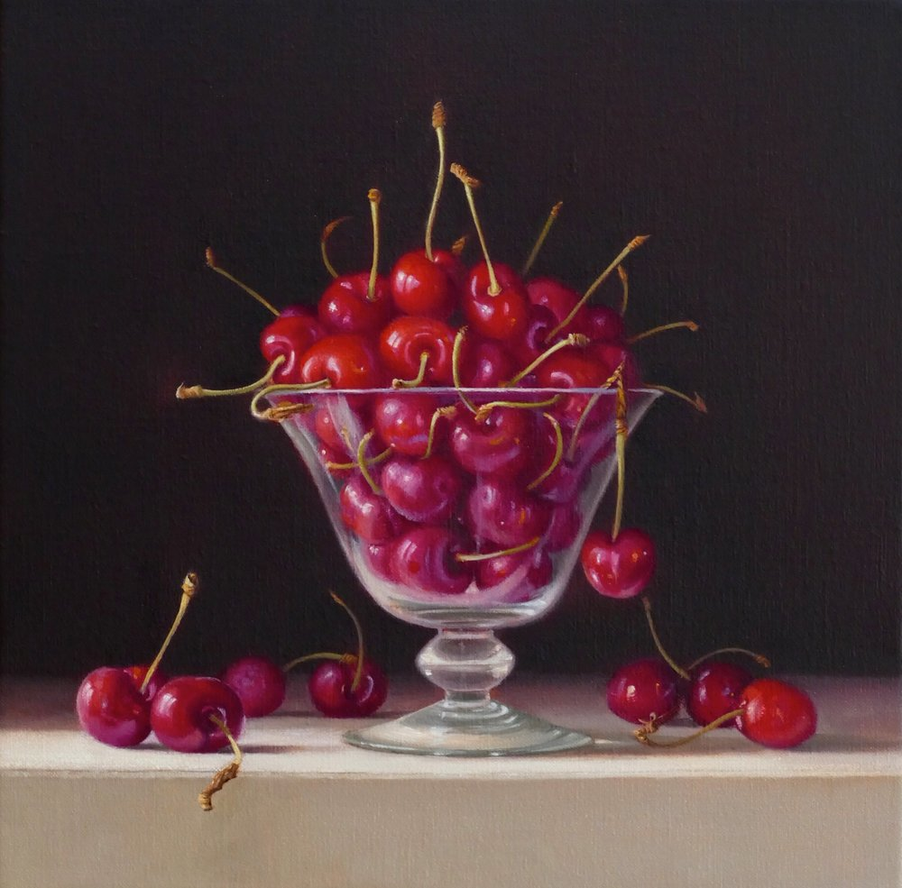 Cherries. 30x30cm. Oil on linen