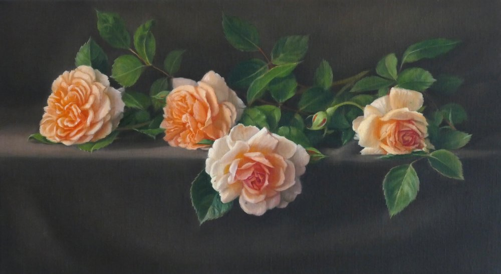 Roses. Oil on linen. 30x54cm. Available at The Biscuit Factory