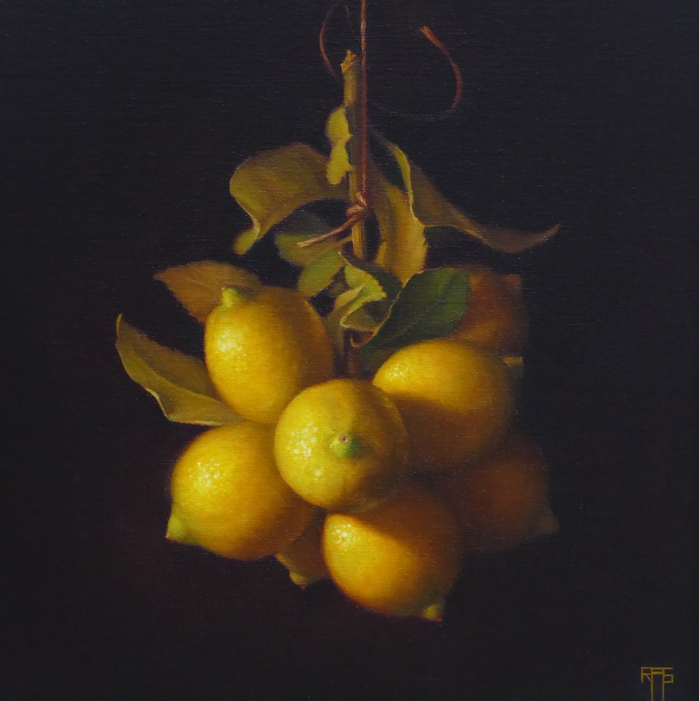 Young Lemons. 33x33cm. Oil on linen. Private Collection