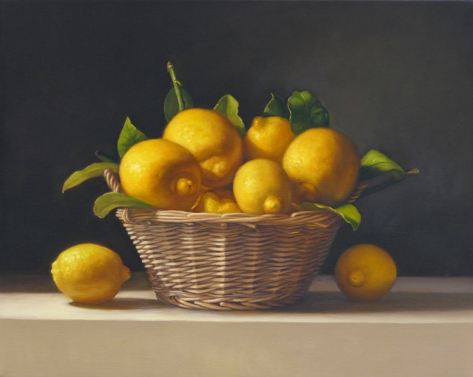 Lemons in a basket. Oil on linen. 40x50cm. Available at Concept Gallery