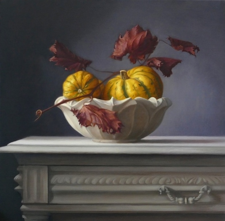 Pumpkins. 50x50cm. Oil on linen. Available at Paragon Gallery