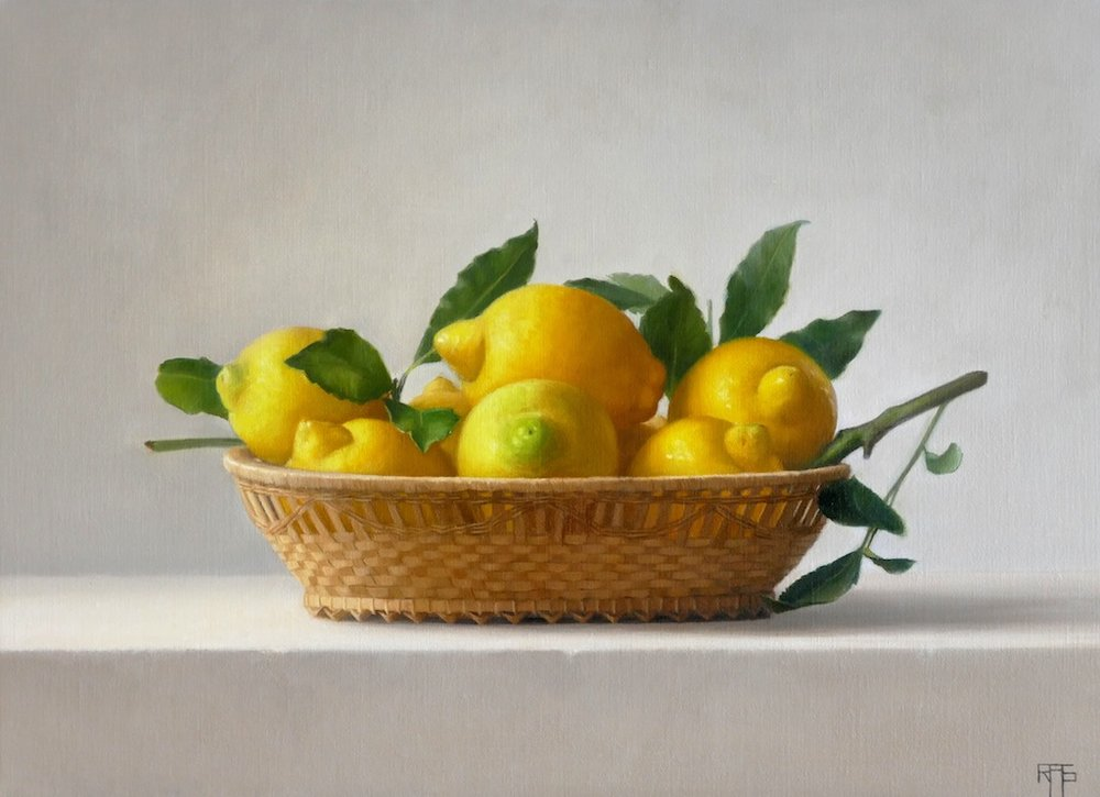 Lemons in a Basket. Oil on linen. 33x45cm. Available at Paragon Gallery