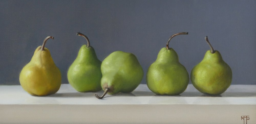 Pears. Oil on linen. 22x45cm. Available at Paragon Gallery