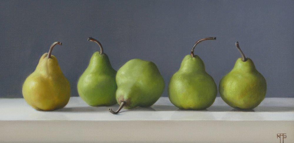 Pears. Oil on linen. 22x45 cm