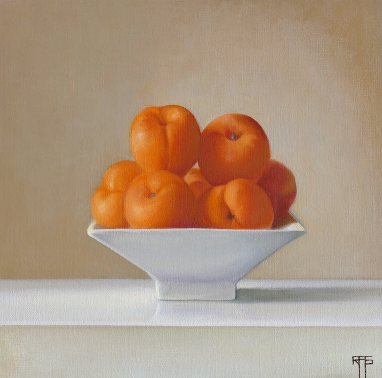 Apricots in a Bowl. Oil on linen. 25x25 cm. Available at Paragon Gallery