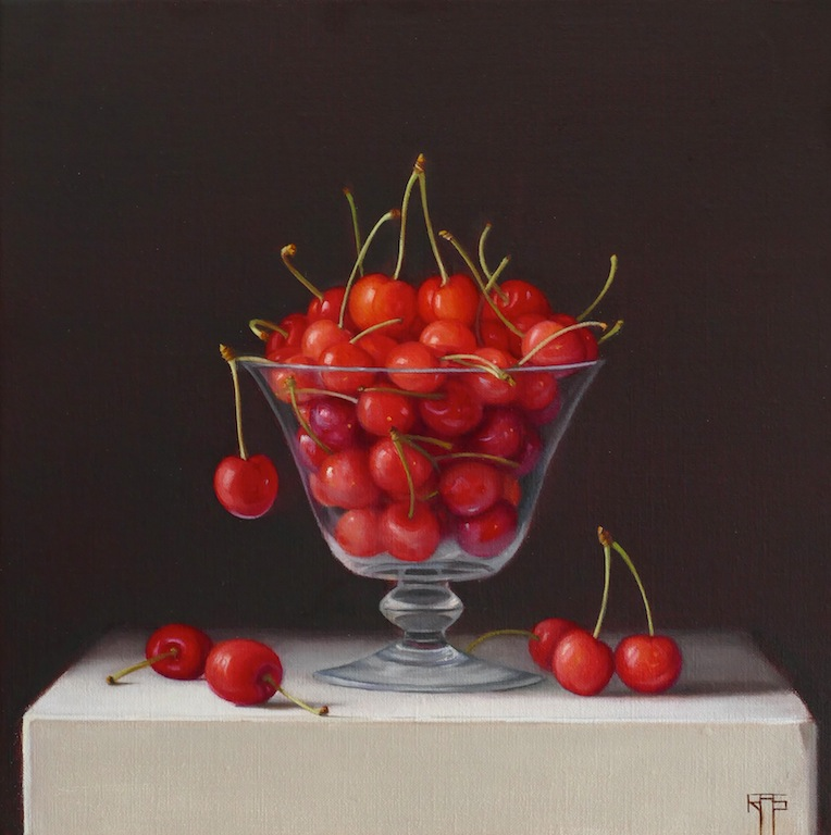 Young Cherries. Oil on linen. 30x30 cm