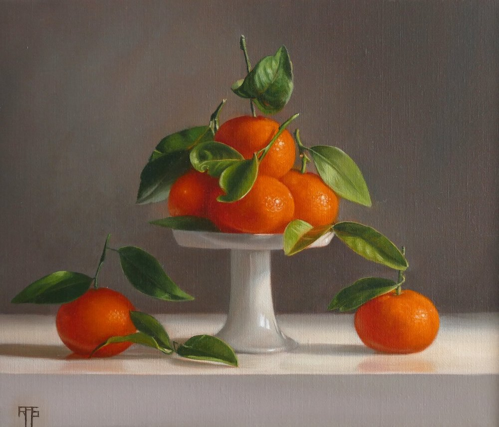 Mandarins. Oil on linen. 30x35 cm. Available at Paragon Gallery