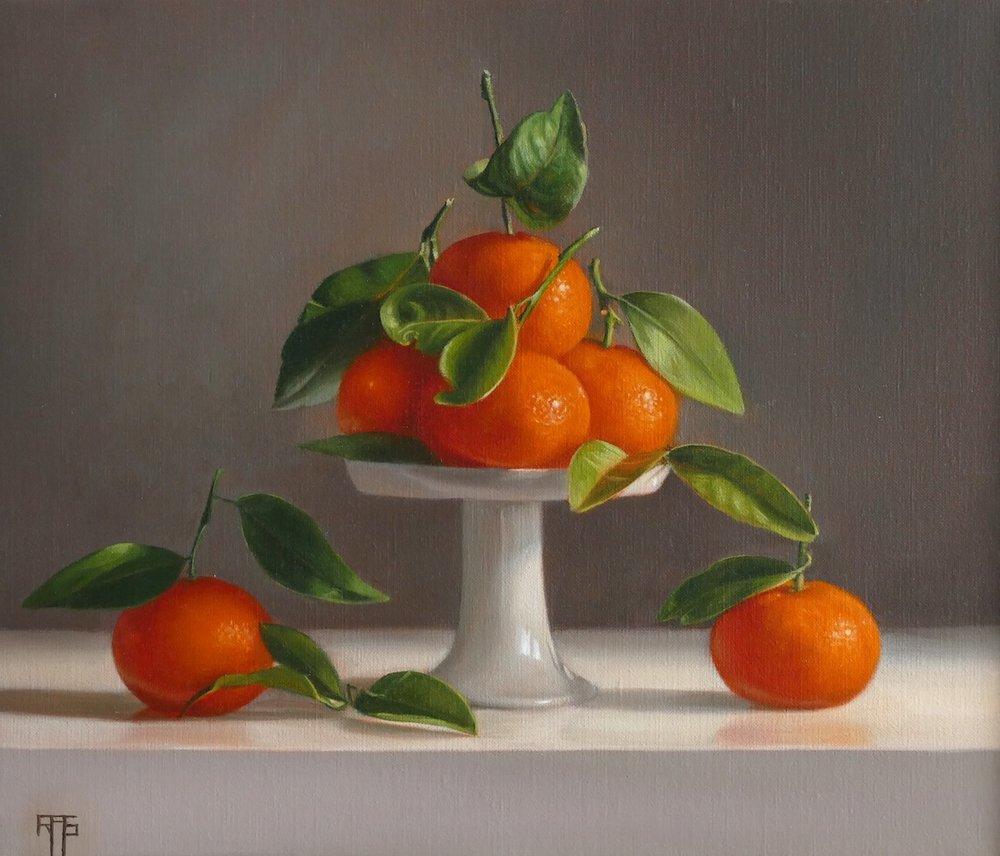 Mandarins. Oil on linen. 30x35 cm