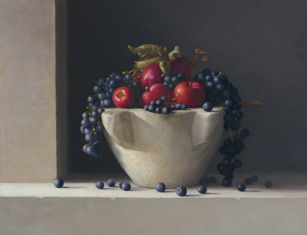 Spartans and Grapes. Oil on linen.35x45 cm. Available at Concept Gallery