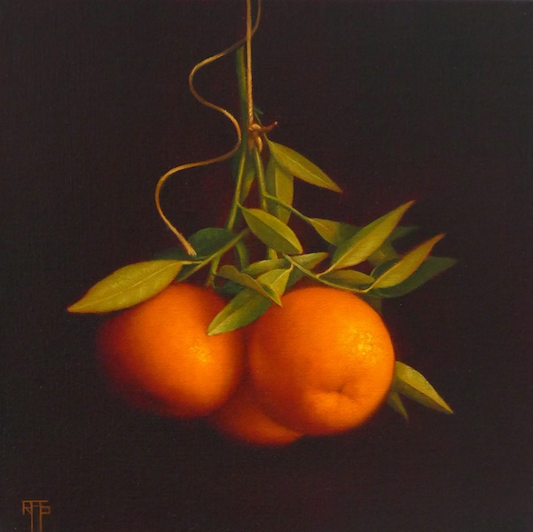 Mandarins. Oil on Linen. 30x30 cm. Available at Morningside Gallery
