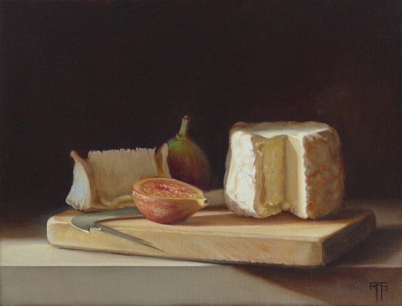 Figs and Cheese. Oil on Linen. 25x32 cm
