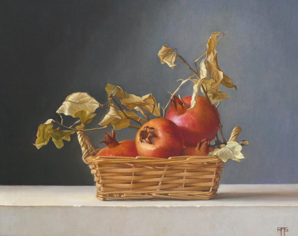 Pomegranates. Oil on Linen. 45x36 cm. Available at Paragon Gallery