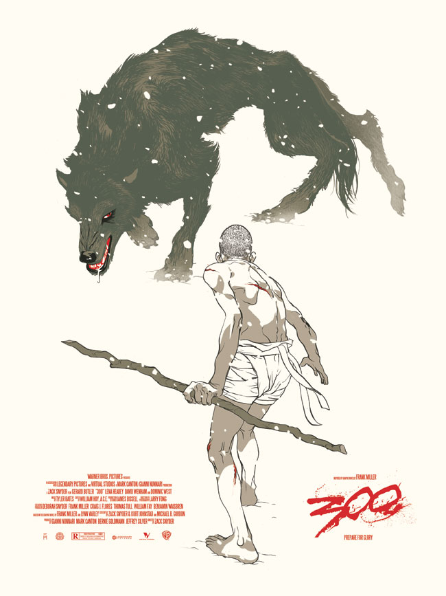 300 '300' Film Poster, for Mondo. Part of the Zack Snyder Director's Series. Screen print edition of 300